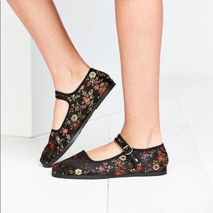 oriental print mary janes